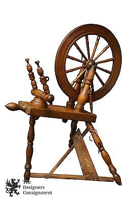Antique Primitive Oak Treadle Spinning Wheel Spoke Flyer Sew Spool Whorl
