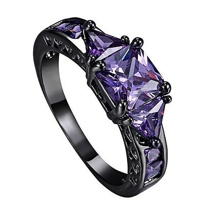 Fashion Womens Amethyst Sapphire Black Gold Filled Zirconia Crystal Jewelry Ring