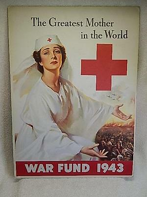 Original Vintage WWII Poster War Fund 1943 Red Cross Nurse Lawrence Wilbur NICE!