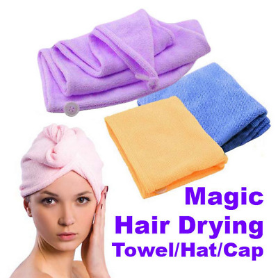 Useful Quick Dry Microfibre Hair Drying Turban Bath Towel Head Wrap Hat Swimming