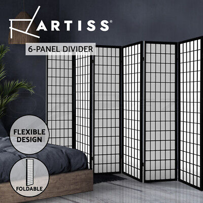 Artiss 6 Panel Room Divider Screen Solid Dividers Timber Privacy Stand Black
