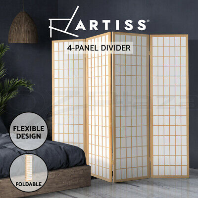 4 Panel Room Divider Solid Wooden Timber Privacy Fold Screen Stand Natural