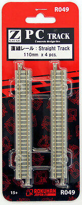 Rokuhan R049 110mm Straight Track 4 pcs. (1/220 Z Scale)