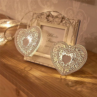 10-LED Metal Heart Shaped Light String Fairy Christmas Party Festival Home Decor