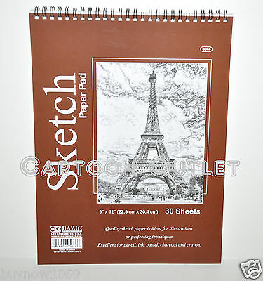 "Quality Sketch Paper Pad 9"" X 12"" 30 Sheets Bazic For Pencil Ink Pastel Charcoal"