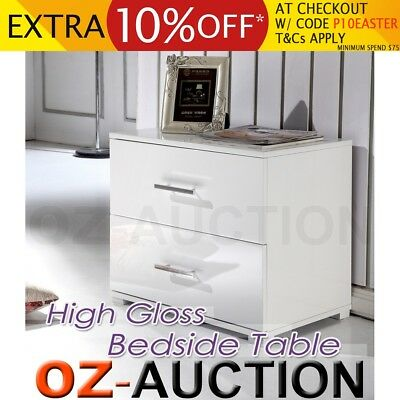 High Gloss Bedside Table Cabinet Chest Two Drawers White Lamp Side Unit