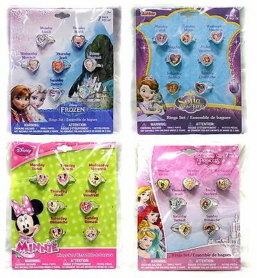 H.E.R. ACCESSORIES 7pc Ring Set DISNEY Jewelry For Kids GIRLS New! *YOU CHOOSE*