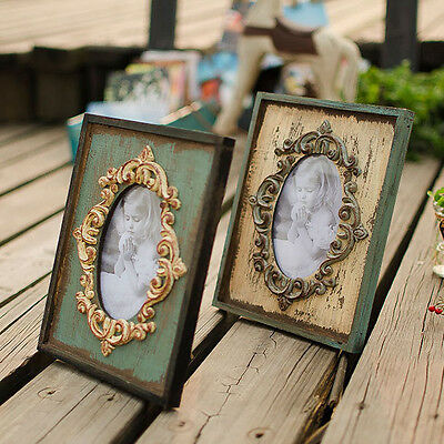 2Pcs Retro Vintage Wooden Pictures Photo Frame Home Shelf Decor Wedding Gifts