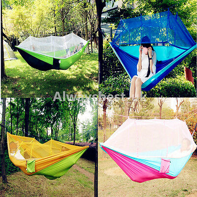 Portable Hammock With Mosquito Hiking Camping Outdoor Parachute Nylon Patio Bed