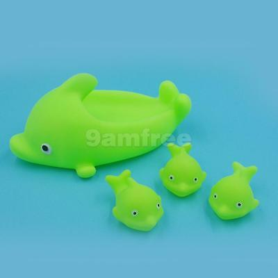 4Pcs Kids Babies Pool Beach Time Fun Rubber Dolphin Squeaky Bath Toys Gift