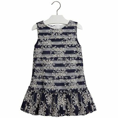 9370131f4d Mayoral Little Girls 2T-9 Floral Embroidered Stripe Lace Social Dress