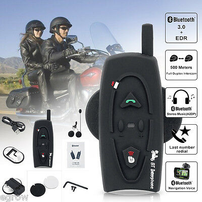 500M BT Intercomunicador Interphone Bluetooth Auriculares Casco Interfono Moto