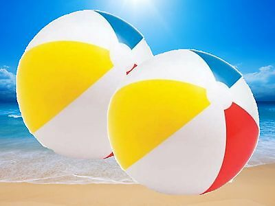 2 x GIANT 51CM INFLATABLE BEACH BALL SEA SWIMMING POOL WATER TOY TY4307