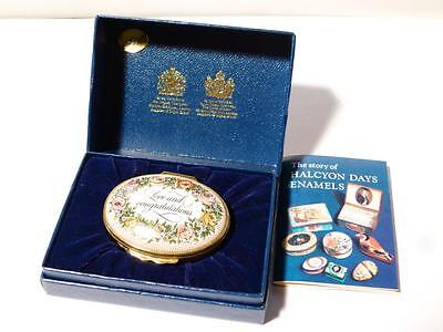 Vintage Halcyon Days Enamel Pill Box LOVE and CONGRATULATIONS Boxed