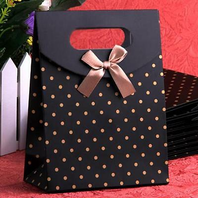 10x Dots Bow Paper Carrier Gift Present Wrap Bags Wedding Favors 165*125mm Black