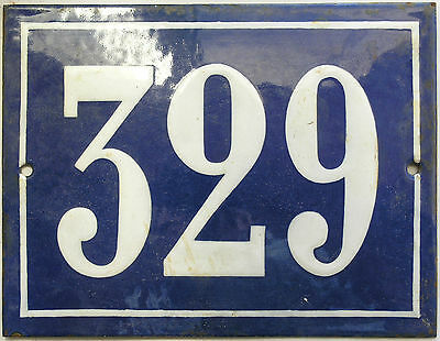 Large old French house number 329 door gate plate plaque enamel steel metal sign