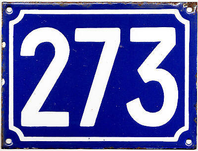 Large old blue French house number 273 door gate plate plaque enamel metal sign
