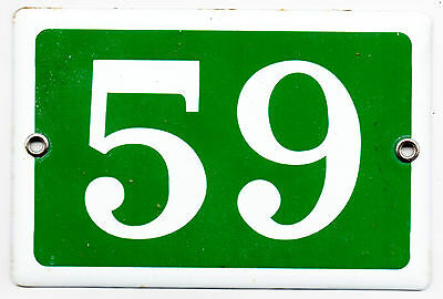 Green French house number 59 door gate plate plaque enamel steel metal sign
