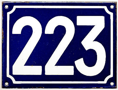 Large old blue French house number 223 door gate plate plaque enamel metal sign