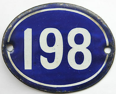 Old blue French house number 198 door gate plate plaque enamel steel metal sign
