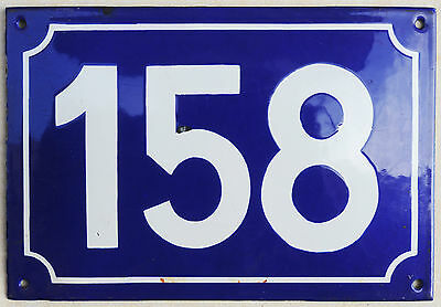 Large old French house number 158 door gate plate plaque enamel steel metal sign