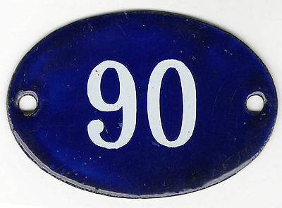 Old blue oval French house number 90 door gate plate plaque enamel steel sign