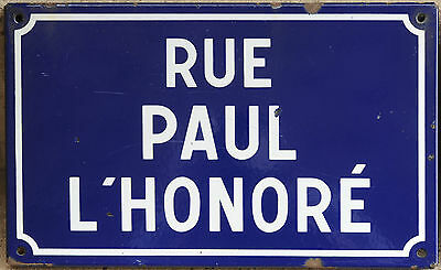 French enamel steel road street sign plaque plate Rue Paul l'Honore Normandy
