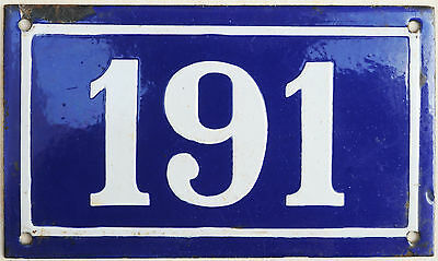 Large old blue French house number 191 door gate plate plaque enamel metal sign