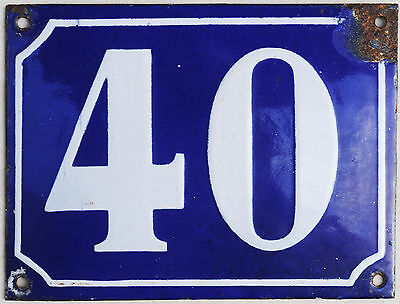 Large French house number 40 door gate plate plaque enamel steel metal sign