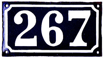 Very old French house number 267 door gate plate plaque enamel steel metal sign