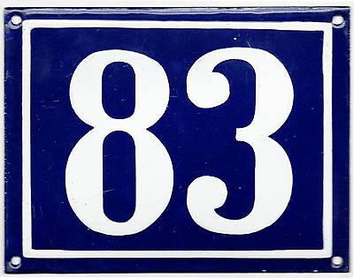 Large old French house number 83 door gate plate plaque enamel steel metal sign