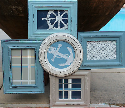 """Rustic Wood """" Beach House """"  Multi  Photo Frame Wall Collage     BRAND NEW"""
