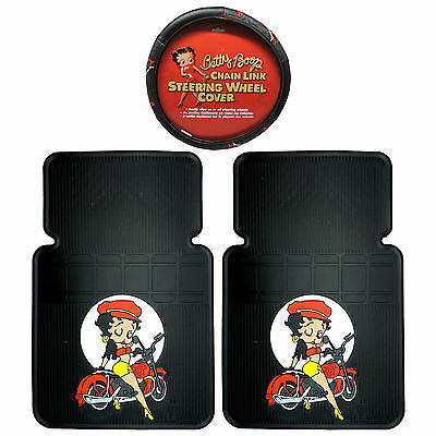 3PC Betty Boop Motorcycle Front Floor Mats Betty Boop Chainlink Steering Cover