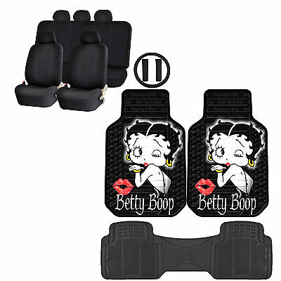 14PC Betty Boop Timeless Front Rubber Floor Mats & U.A.A. Inc. Racing Style Seat