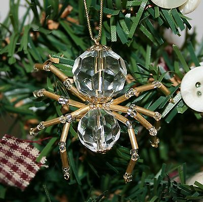 The Legend of the Christmas Spider Beaded Ornament Crystal Gold