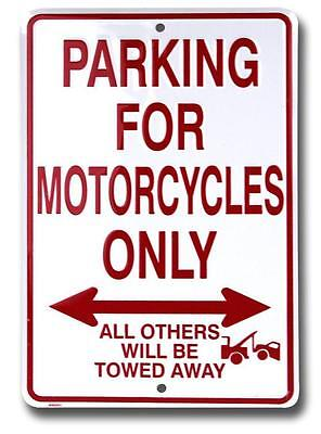 Motorcycle Parking Only All Others Will Be Towed Metal Sign Novelty Biker Decor