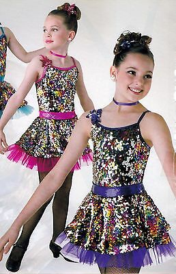 NEW Sequin Skirted Dance Costume w/petticoat Foil Purple w/headpiece Girls Sizes
