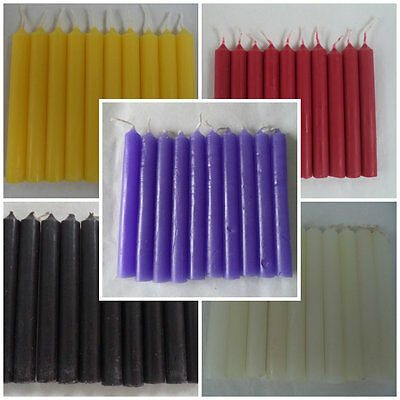 """Wholesale Lot 50 Mini 4"""" Chime Spell Candles - Black White Yellow Purple Red"""