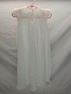 Vintage Antique White Baptism Christening Outfit Gown Petticoat Smocked Lace