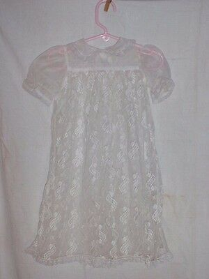 Vintage Lace Gown Christening Baptism Dress White Short Sleeve Infant Madonna