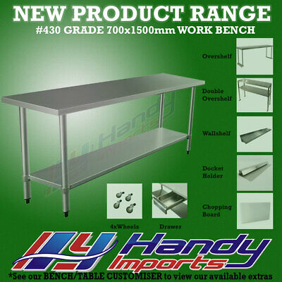 1500mm x 700mm NEW STAINLESS STEEL WORK BENCH KITCHEN FOOD PREP CATERING TABLE