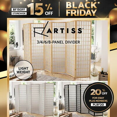 Artiss 3/4/6/8 Panels Room Divider Screen Wooden Dividers Timber Stand Privacy
