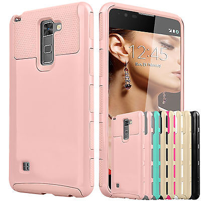 Armor Shockproof Rubber Silcone Hard Case Cover For LG G Stylo 2/Stylus 2 & Plus