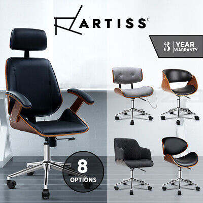 Artiss Office Chair Computer Leather Chairs Executive Wooden Seating Vintage