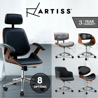 Executive Wooden Office Chair Home Leather Padded Computer Work Seat Premium