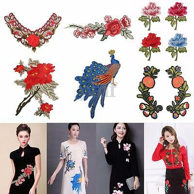 Flower Sew Patch Applique Trim Lace Badge Embroidered Neck Dress Cheongsam Decor