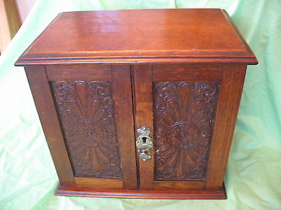 Old antique arts & crafts Oak pipe smokers cabinet + drawers tray & pipe rack