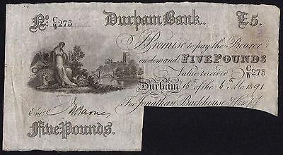 1891 DURHAM BANK £5 BANKNOTE * CW 275 * aVF * Outing 722g *