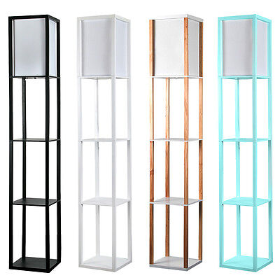 Modern Wooden Shelves Floor Lamp Unit Standard Bedroom Lounge Home Light Shelf