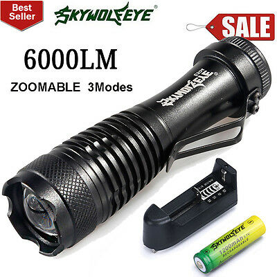 6000LM Zoom CREE Q5 Mini LED Flashlight Focus Torch Light+14500 Battery+Charger